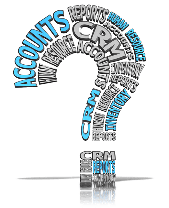 Question Mark Made up of Software Names such as Accounts, CRM, ERP, Inventory, etc