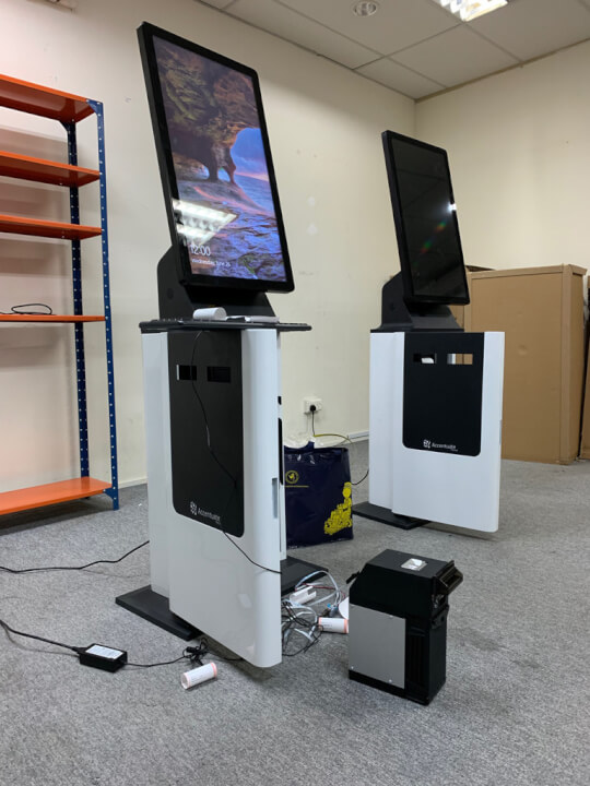 Accentuate Kiosks undergoing configurations and testing in Singapore before shipping out to our client.