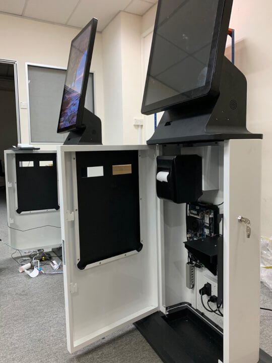 "Inside view of Our kiosks. 32"" 10 point capacitive touch screen. This means that it feels like an iPhone when you touch it."
