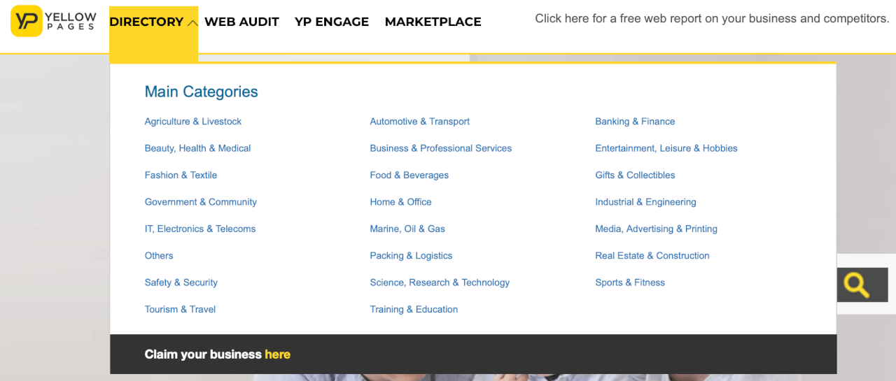 Yellow Pages Screen Shot